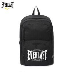 【美國EVERLAST】 簡約學院風純色 休閒旅行 雙肩後背包-黑色
