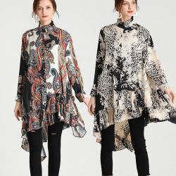 麗質達人 - 7858印花雪紡拼接長版上衣-二色