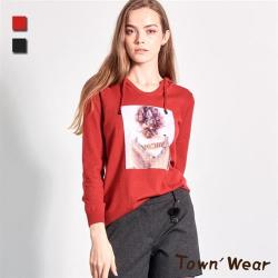 【TOWN'WEAR 棠葳】甜美印花連帽針織衫 2色
