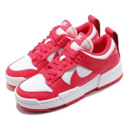 Nike 休閒鞋 Dunk Low Disrupt 運動 女鞋 基本款 解構 簡約 皮革 穿搭 球鞋 紅 白 CK6654601 [ACS 跨運動]