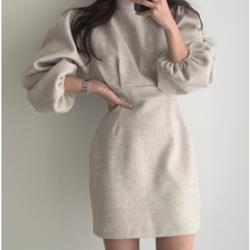 圓領後背鏤空顯瘦長袖衛衣修身網紅毛呢連衣裙