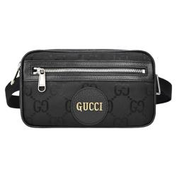Gucci Off Grid 再生尼龍紗線燙金皮革標誌腰包(黑)
