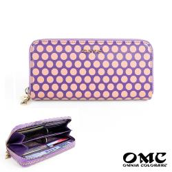 【OMC】8卡1照文藝滿點雙拉鍊牛皮長夾-紫色