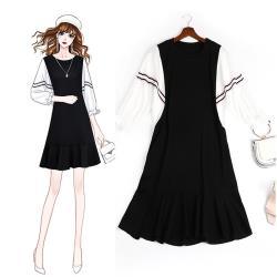 麗質達人 - 11152黑白拼色假二件洋裝