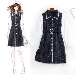 麗質達人 - 11297藍色毛料拼接洋裝