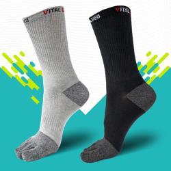 【Vital Salveo 紗比優】活勁能運動休閒五趾襪(灰色)( 六雙入)(含遠紅外線/透氣舒適/除臭抗菌/吸濕排汗)