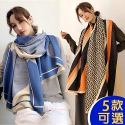 【韓國K.W.】(預購)獨家下殺↘時尚素雅羊絨披肩圍巾組-共五款