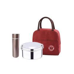 鵝頭牌不銹鋼316圓型便當盒+熊貓防水保溫保冷便當袋+316口袋杯