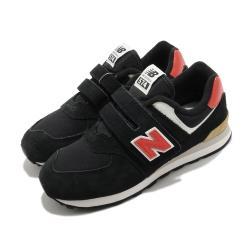 New Balance 休閒鞋 574 Wide 寬楦 運動 童鞋 紐巴倫 基本款 簡約 魔鬼氈 中童 黑 橘 PV574ML2W [ACS 跨運動]