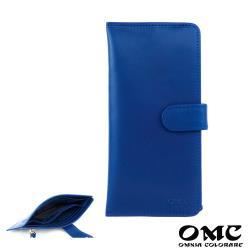 【OMC】14卡1照植鞣革輕薄簡約牛皮長夾(天藍)
