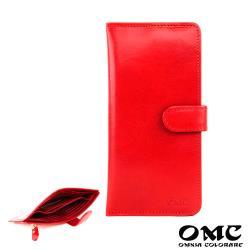 【OMC】14卡1照植鞣革輕薄簡約牛皮長夾(紅色)