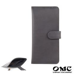 【OMC】14卡1照植鞣革輕薄簡約牛皮長夾(灰色)
