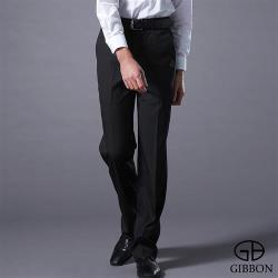 GIBBON 暖感厚質內刷毛條紋平面西裝褲‧黑灰條紋