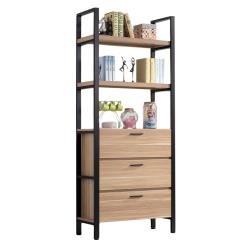 H&D 保羅原木2.7尺三抽書櫃