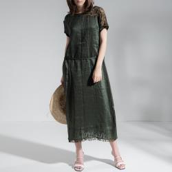 【PANGCHI 龐吉】韻味蕾絲拼接麻料綁帶修身洋裝(2018020-55)