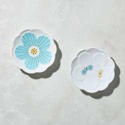 有種創意 - 日本晴九谷燒 - 花見小盤 - 藍(2入組)