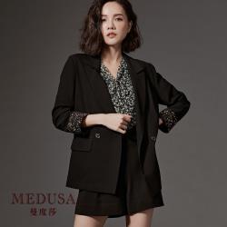 現貨【MEDUSA】碎花反摺袖滾邊西裝外套 / 西裝套裝 / 上班穿搭 / 正裝