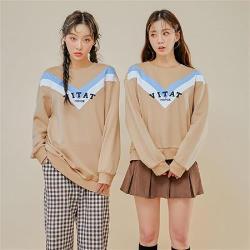 T恤 拼色刺繡質感長袖T恤OU13689-創翊韓都