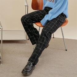 休閒褲 高腰格紋休閒直筒長褲PQ0156-創翊韓都