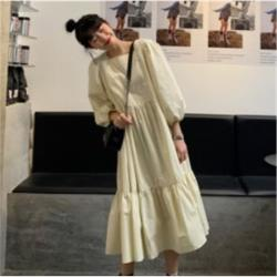 氣質泡泡袖小方領長款連衣裙