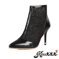 【Kissxxx】美腿效果尖頭優雅蕾絲拼接氣質高跟短靴 黑