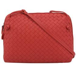 BOTTEGA VENETA 245354 手工編織小羊皮斜背包.正紅