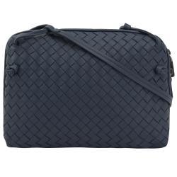 BOTTEGA VENETA 245354 手工編織小羊皮斜背包.深藍