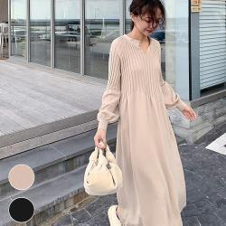 【MsMore】韓國千金蜜桃領顯瘦燈籠袖浪漫針織洋裝#103274現貨+預購(2色)