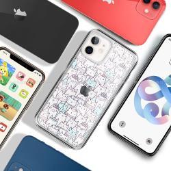 MOOTUN for iPhone 12 mini 5.4吋 防護晶透保護殼 - 滿版線條貓藍