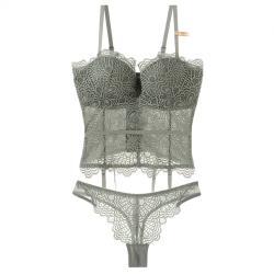 【PinLe】法式深V性感馬甲蕾絲聚攏上托收腹美體套裝(灰綠色)bra-A005