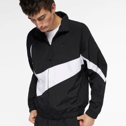 NIKE Sportswear 男裝 外套 夾克 梭織 休閒 透氣 大勾 光澤感 黑 AR3133-010