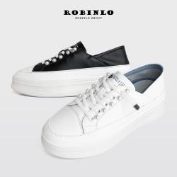 Robinlo高端經典款珍珠真皮厚底小白鞋MABYN-黑色/米白色