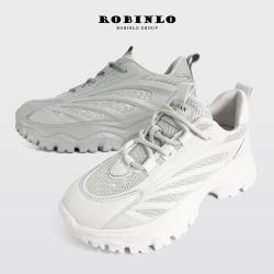 Robinlo潮流必備異材質璀璨限定老爹鞋GYA-米白色/灰色