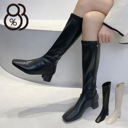 【88%】4.5cm長靴 優雅氣質百搭保暖內刷毛 筒高38CM皮革方頭側拉鍊粗跟靴 膝下靴