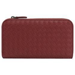 BOTTEGA VENETA 518389 編織小羊皮拉鍊長夾.深紅