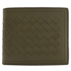 BOTTEGA VENETA 113993 手工編織小羊皮八卡短夾.綠