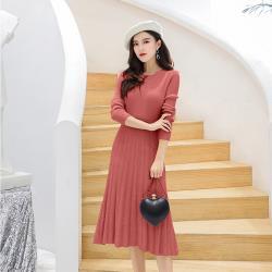 【KISSDIAMOND】舒適親膚中長版針織連衣裙-KD-117(百搭/舒適/OL/氣質)