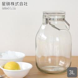 日本星硝 日本製醃漬/梅酒密封玻璃保存罐3L(密封 醃漬 日本製)