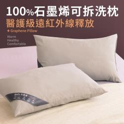 【LooCa】醫療級100%石墨烯遠紅外線可拆洗枕(1入)