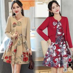 【K.W.韓國】(現貨)韓版顯瘦花朵二件式洋裝