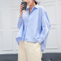 【A1 Darin】韓款百搭純色寬鬆長袖襯衫