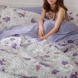【青鳥家居】MIT台灣製 300織專櫃級寢具 #60支 純天絲涼感床包兩用被套組 - 奧蘿拉(雙人)
