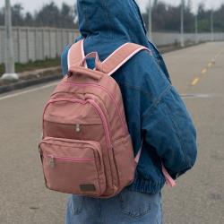 J II 後背包-無限多隔層防潑水後背包-玫瑰金-6377-5