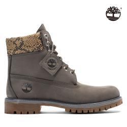 Timberland 女款中灰色磨砂革配蛇纹防水6吋靴A2HHZ033