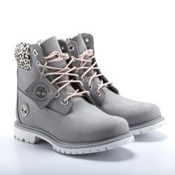 Timberland 女款中灰色磨砂革配豹纹防水6吋靴A2GYG085