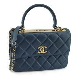 ⭐ CHANEL深藍色菱格紋羊皮Trendy CC手提肩背信封包(九成新展示品)