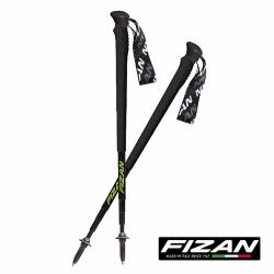 FIZAN 超輕四節式多功能登山杖(2入) 黑/螢光綠