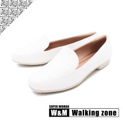 WALKING ZONE SUPER WOMAN系列 百搭方頭平底樂福鞋 女鞋 - 白(另有卡其.黑)
