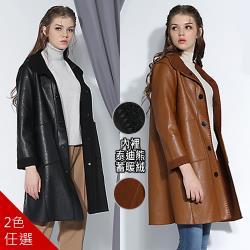 【A1 Darin】經典長版修飾皮外套(兩色任選)