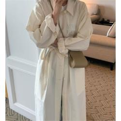 純色寬鬆百搭襯衫連衣裙